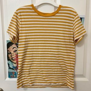yellow & white striped brandy melville shirt